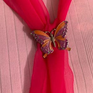 Accessories - Sheer Hot Pink Scarf with Enamel Butterfly Pin